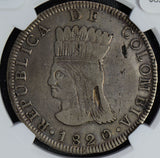 Colombia 1820 8 Reales silver NGC VF30 rare in this grade, indentation ar NG0481