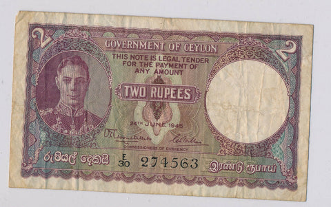 RC0134 Ceylon 1945 2 Rupees  combine shipping
