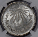 NG0191 Mexico 1925 M Peso cap and rays NGC MS 65 combine shipping