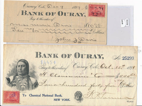 RC0156  1899 check  bank of ouray with stamps combine shipping