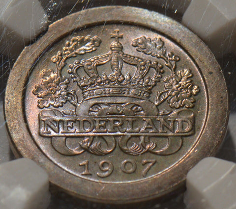 NG0014 1907 Netherlands 5 cents NGC MS 66 purple/magenta toning b/t toned morgan