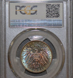 PCGS MS66 1904 Saxony Death germany green/blue/purple toning PC0006 combine ship
