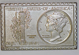 1974 Numistamp medal of 1916 Mercury dime mort reed token nickel colored BU0297