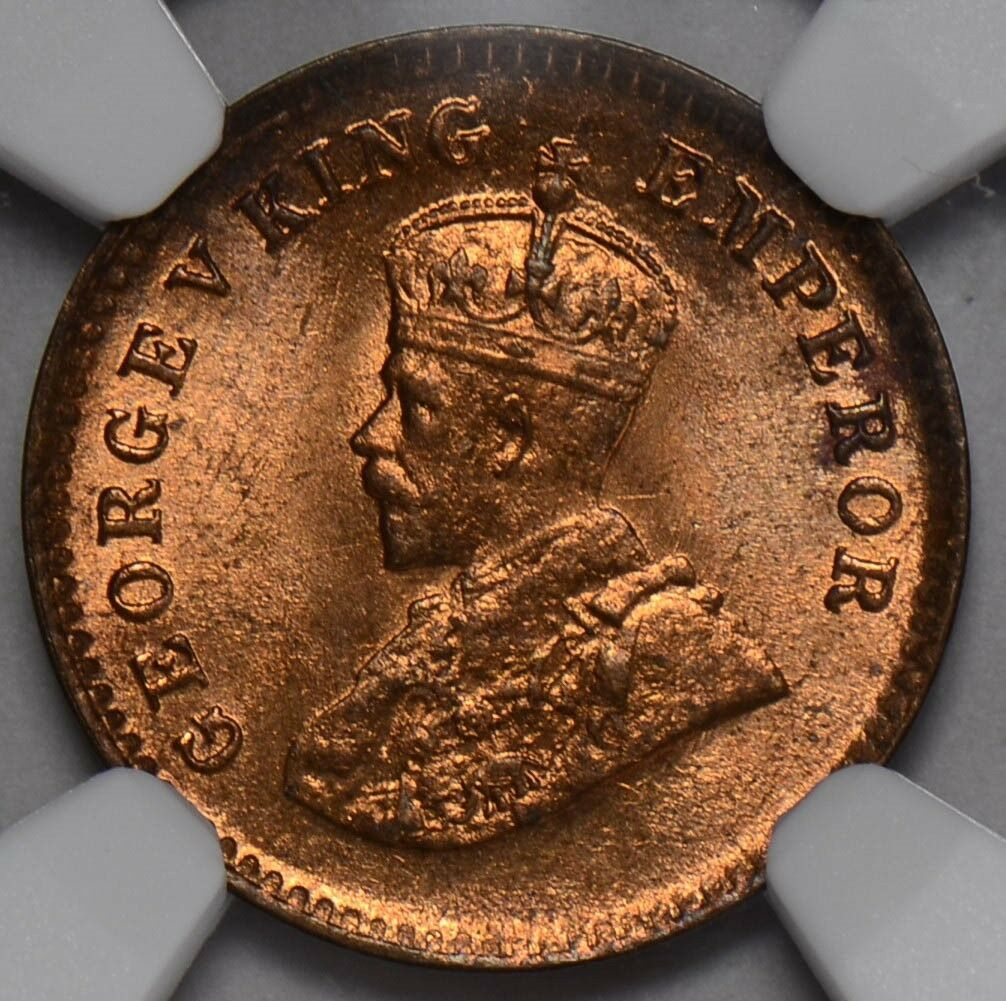 NG0222 British India 1935 C 1/12 Anna NGC MS 65RD rare in red! combine shipping