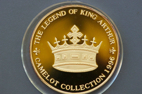 King Arthur Silver medal gold plated 3.3oz silver .99 silver