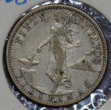 Philippines 1908 S 50 Centavos silver  190347 combine shipping