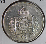Brazil 1863 2000 Reis silver lustrous B0180 combine shipping