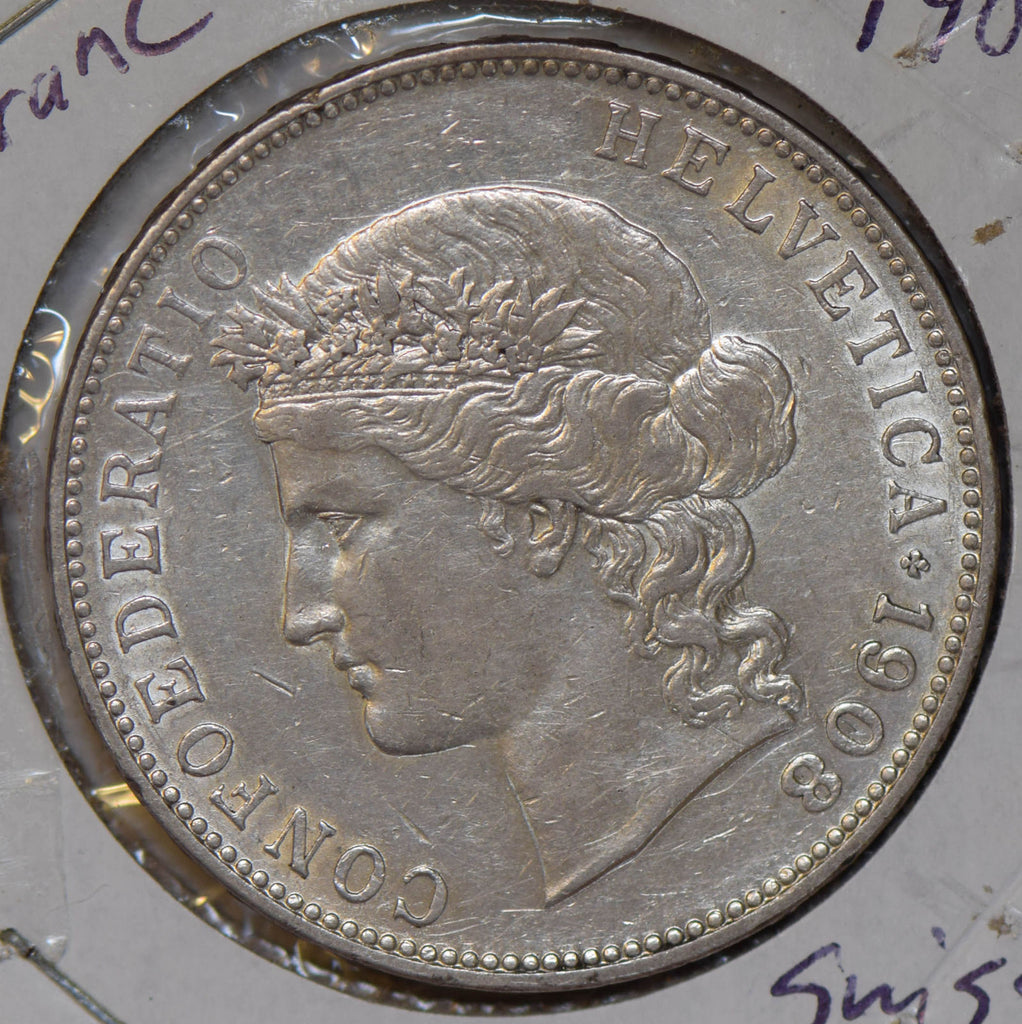 Switzerland 1908 5 Francs silver S0213 combine shipping