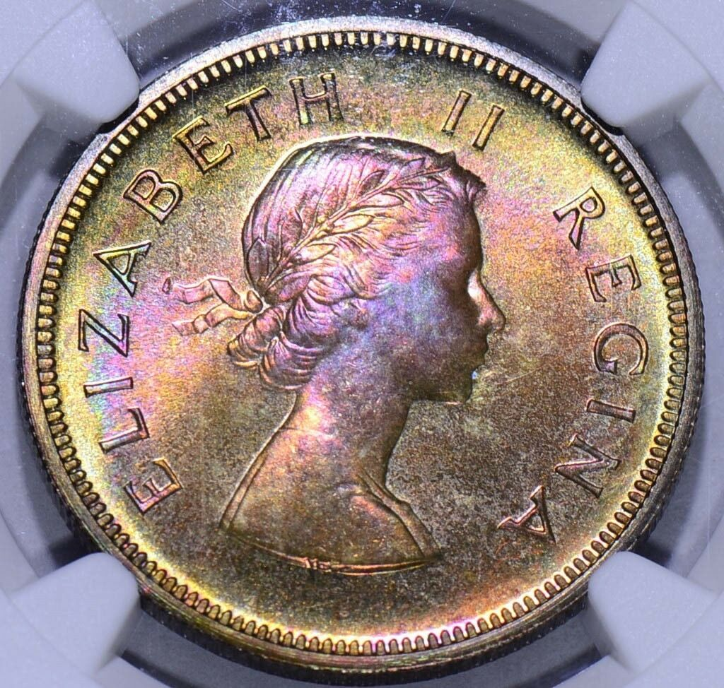 South Africa 1954  2.5 Shillings NGC PF 66*Star delicious pink, golden and green