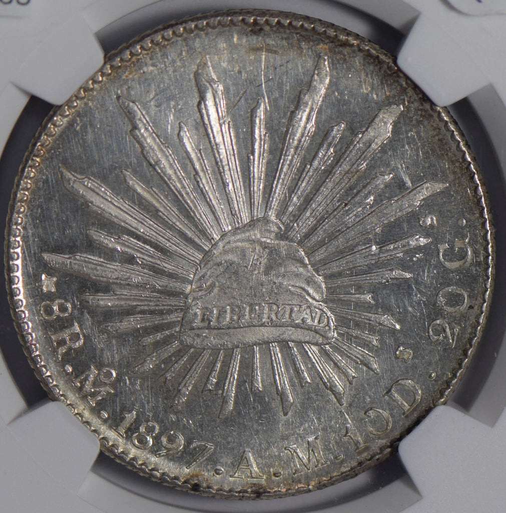Mexico 1897 MO AM 8 Reales silver NGC UNC NG0665 combine shipping