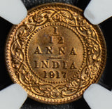 British India 1917 C 1/12 Anna NGC MS65RB NG0416 combine shipping