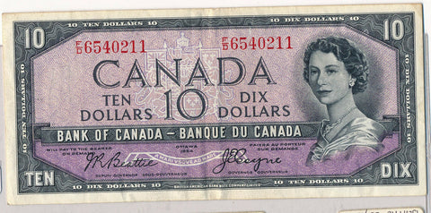 RC0159 Canada 1954 $10  beattie-coyne devil's face combine shipping