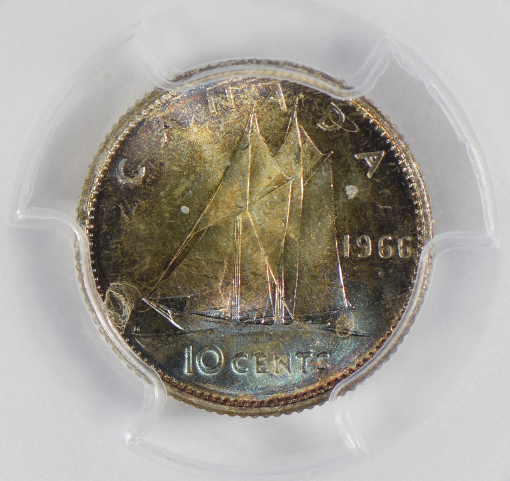 Canada 1966 10 Cents silver PCGS MS64 stunning blue golden toning PC0300 combine