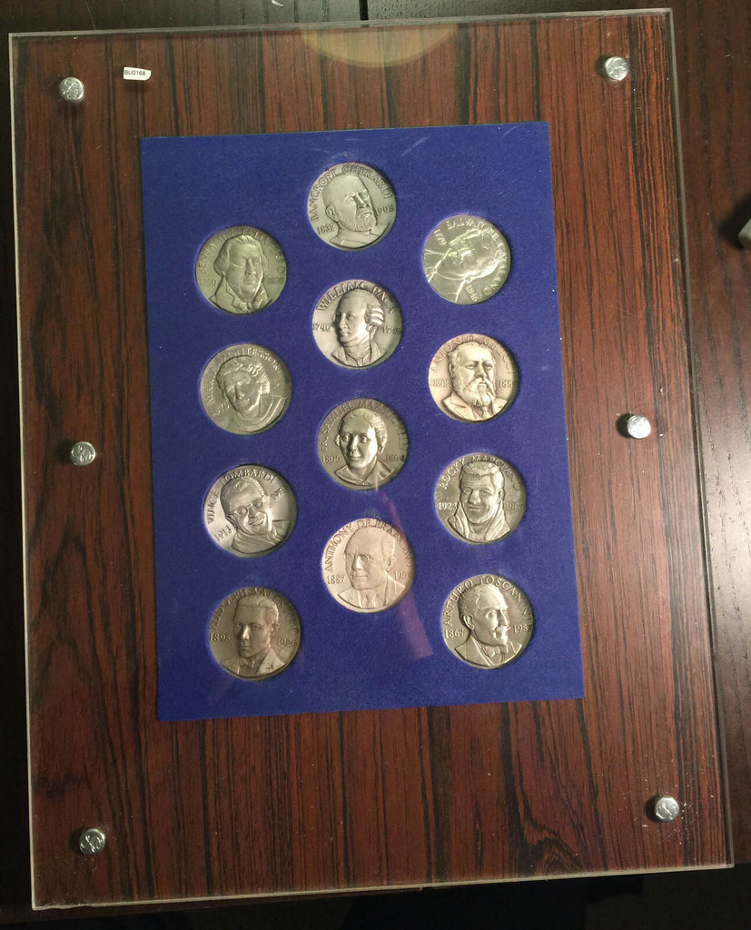 BU0168 Italy  Famous Italian People Medal Set silver in a frame, each medal cont