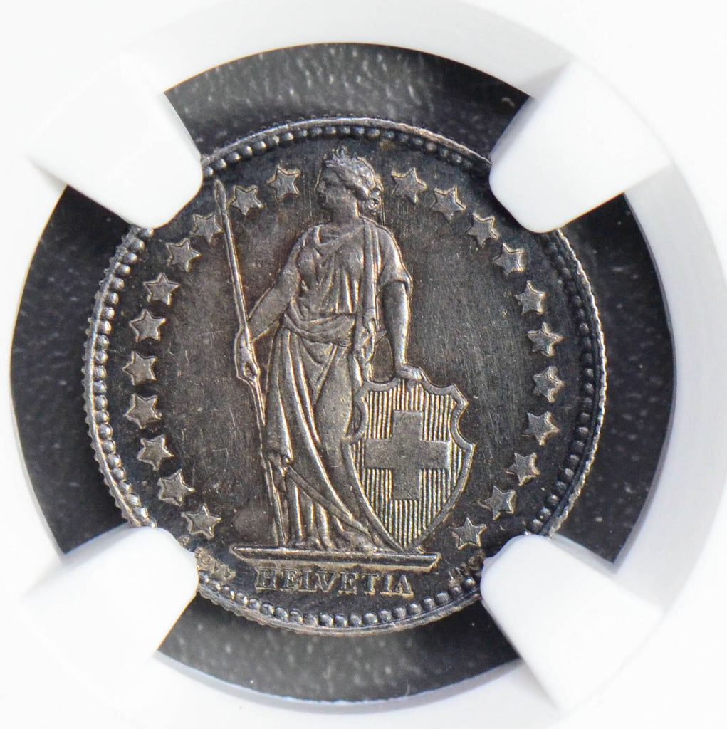 Switzerland 1894 A 1/2 Francs silver NGC MS63 nice golden toning NG0558 combine