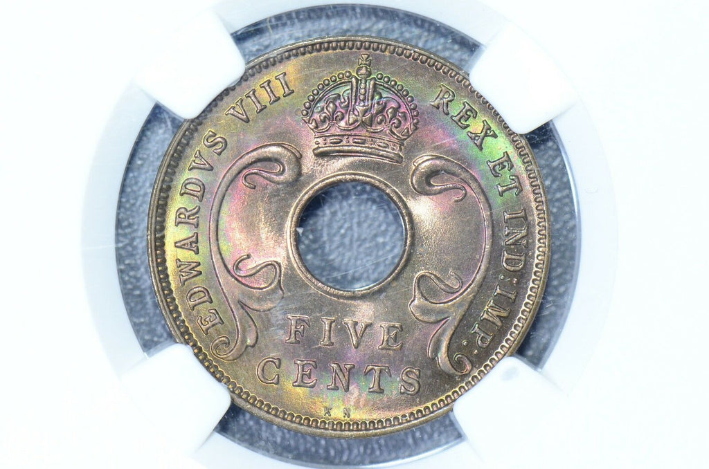 East Africa  1936 5 Cents NGC MS65RB Gorgeous Toning  NG0038 combine shipping