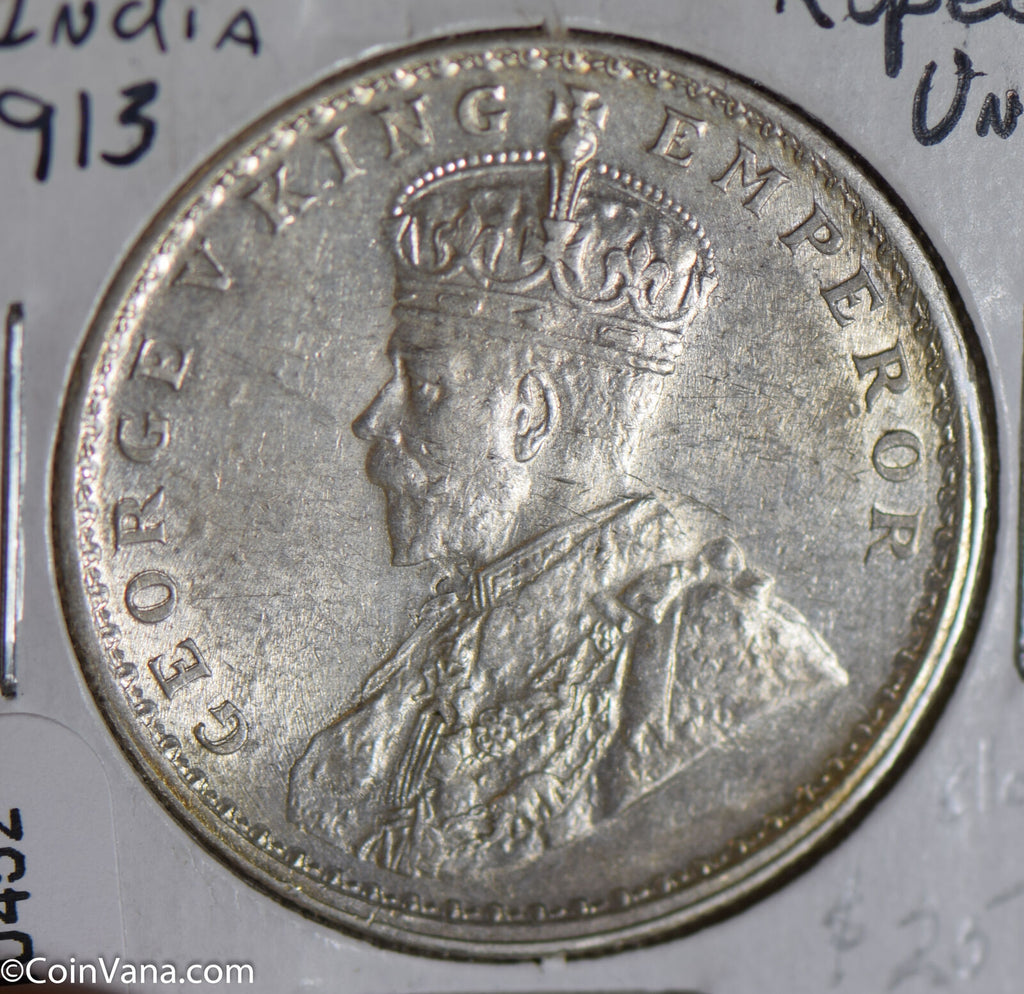 British India 1913 Rupee silver UNC I0452 combine shipping