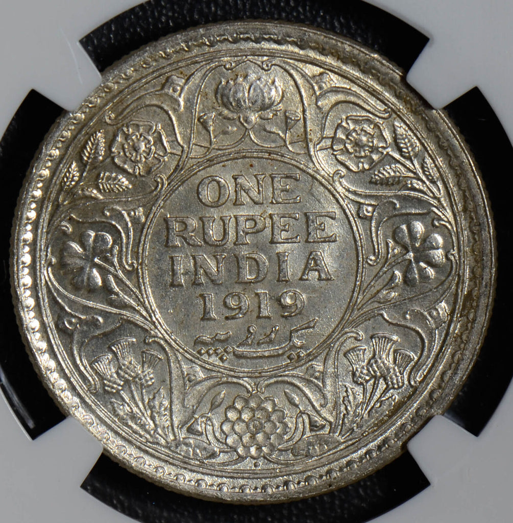 British India 1919 B Rupee silver NGC MS63 bombay mint NG0373 combine shipping