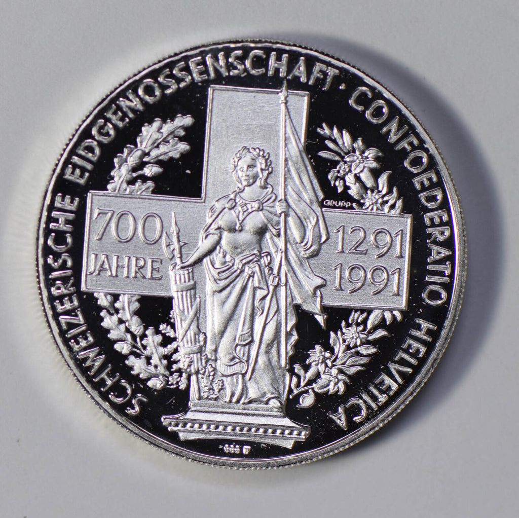 Switzerland 1991 Unze woman silver PROOF 700 years of confederation S0192 combin