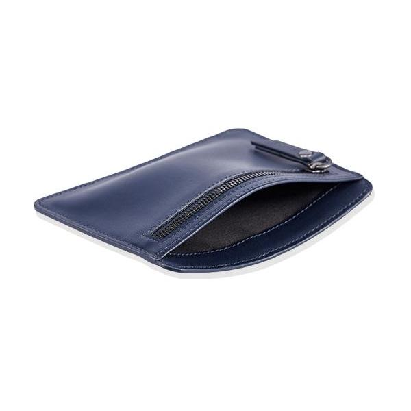 MONYKER Leather Card and Coin Case NAVY