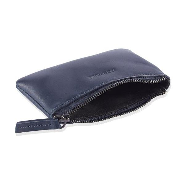 MONYKER Leather Zip Coin Pouch NAVY