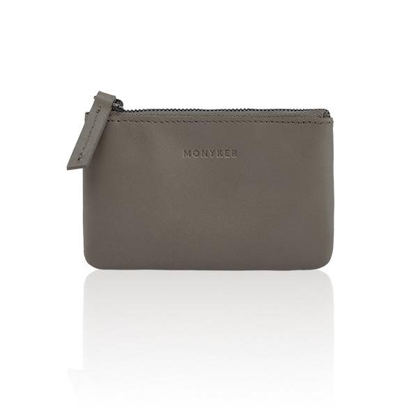 MONYKER Leather Zip Coin Pouch TAUPE