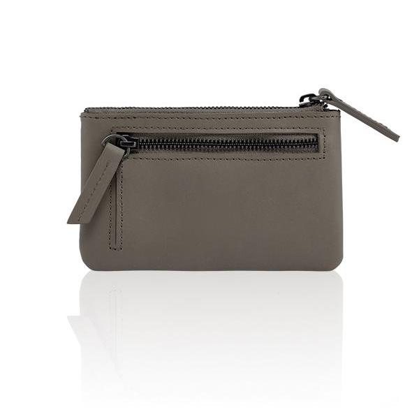 MONYKER Leather Zip Coin Pouch TAUPE:  Back Pocket