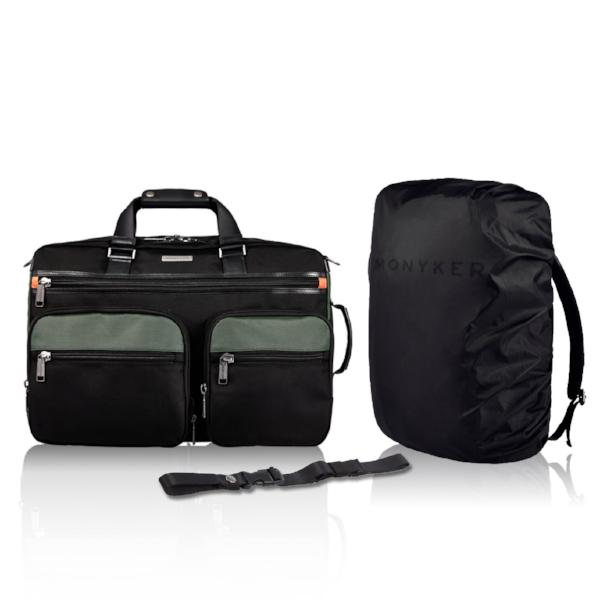 MONYKER ballistic nylon 3-in-1 travel bag, water resistant rain cover, removable sternum strap