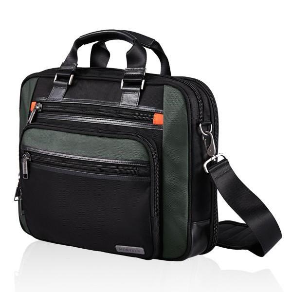 MONYKER black ballistic nylon laptop bag with crossbody straps