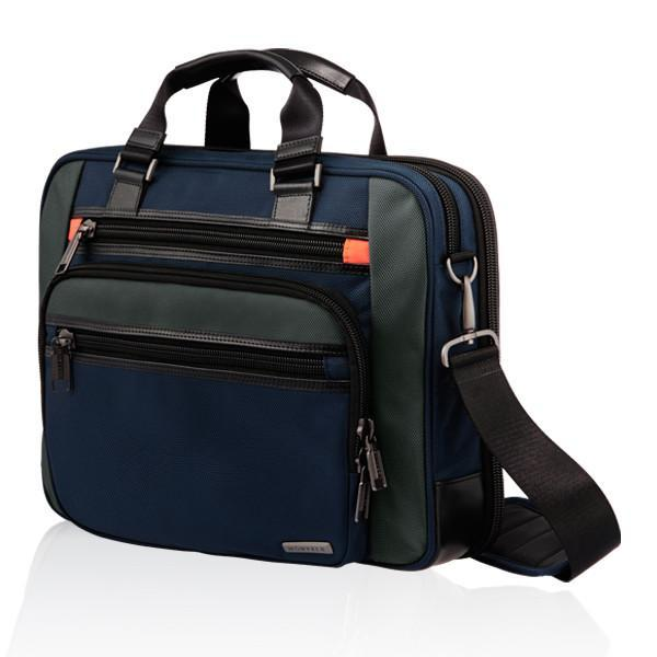 MONYKER navy ballistic nylon laptop bag with crossbody straps