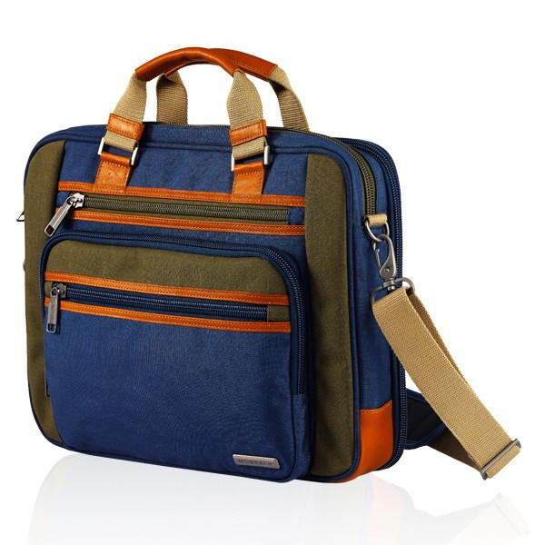 MONYKER blue casual nylon laptop bag with crossbody straps