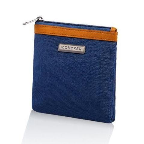 MONYKER blue nylon RFID blocking pouch