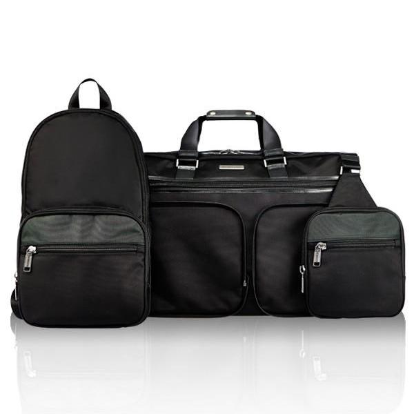 MONYKER black ballistic nylon 3-in-1 travel bag:  detachable sling and casual backpack