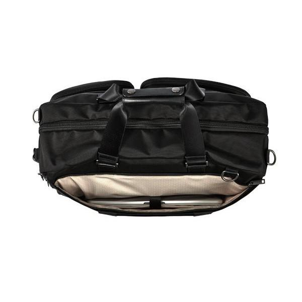MONYKER black ballistic nylon 3-in-1 travel bag:  back pocket laptop compartment