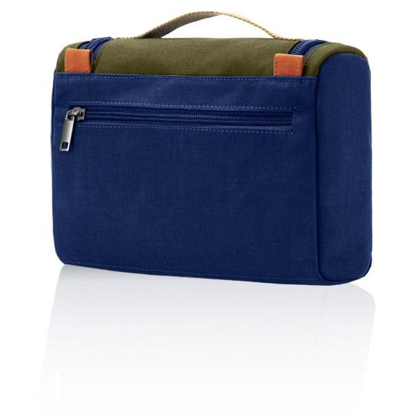 MONYKER blue casual nylon toiletry kit with back zip pocket