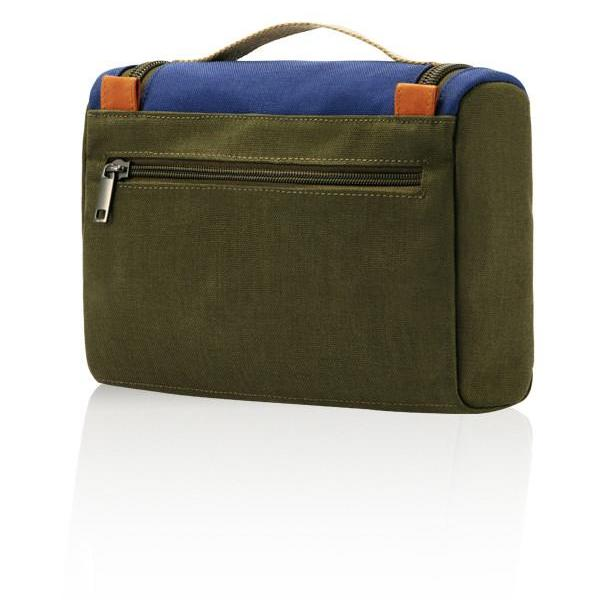 MONYKER olive casual nylon toiletry kit with back zip pocket
