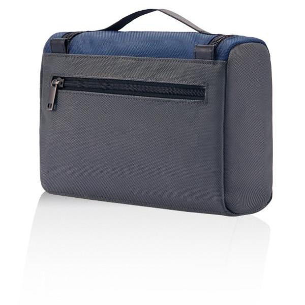 MONYKER navy ballistic nylon toiletry kit with back zip pocket
