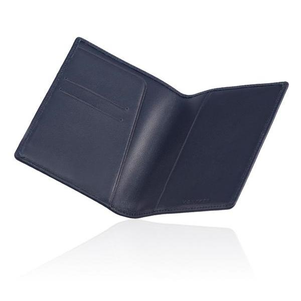 MONYKER Leather Passport Sleeve NAVY:  Interior