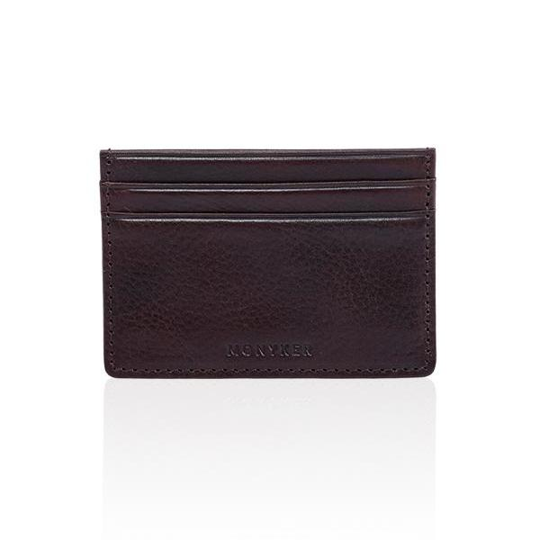 MONYKER Leather Slim Card Case BROWN