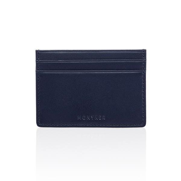MONYKER Leather Slim Card Case NAVY