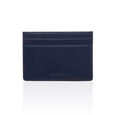 LEATHER SLIM VERTICAL BIFOLD CARD WALLET - NAVY
