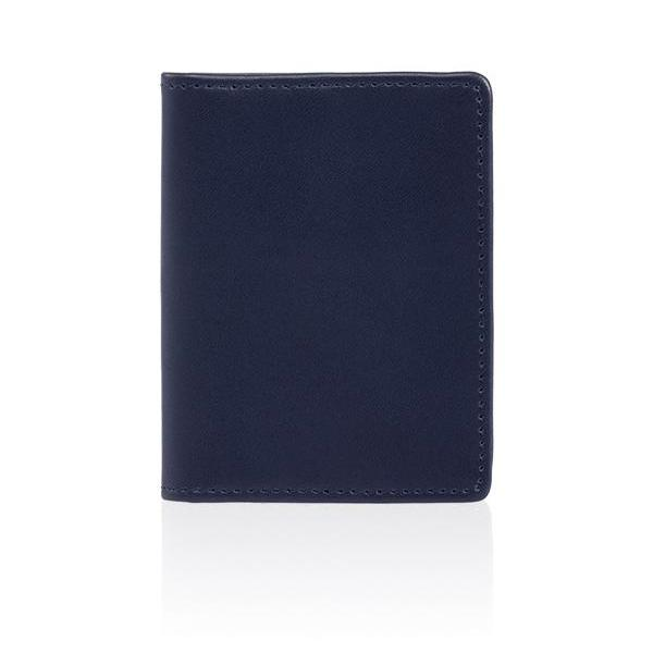 MONYKER Leather Slim Card Wallet NAVY
