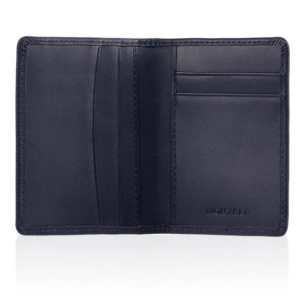 MONYKER Leather Slim Card Wallet NAVY:  Interior