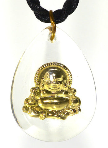 Happy laughing and fat gold Buddha amulet in clear plastic resin from Thailand.