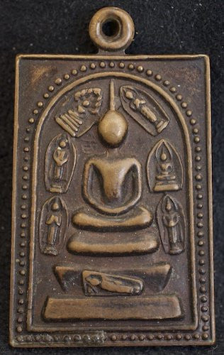 Bronze Somdej Toh Buddha Amulet with Days of Week Buddhas