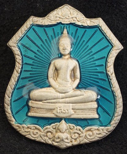 Premium Solid Silver Buddha Shield with Blue Radiance