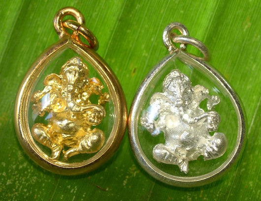 Small White Ganesh Amulet with Rim Case