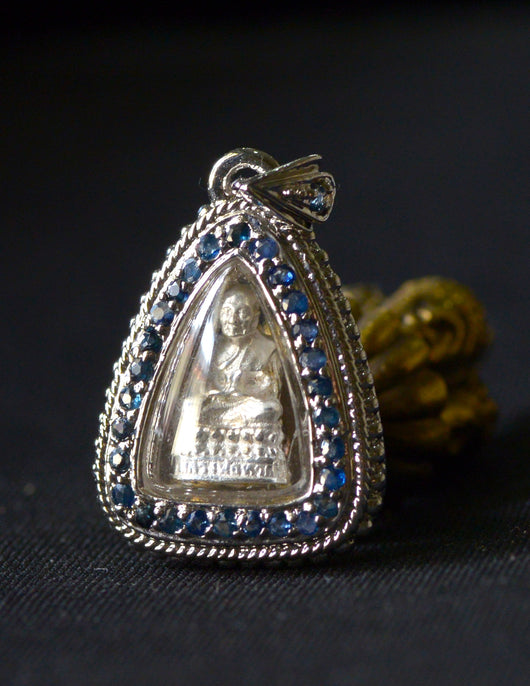 Phra Luang Por Tuad in Solid Silver Blue Jeweled Case