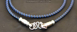 Blue and Black Premium Elastic Cord Thai Amulet Necklace