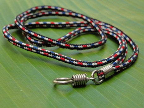 Red, White, Blue and Black Thai Amulet Necklace